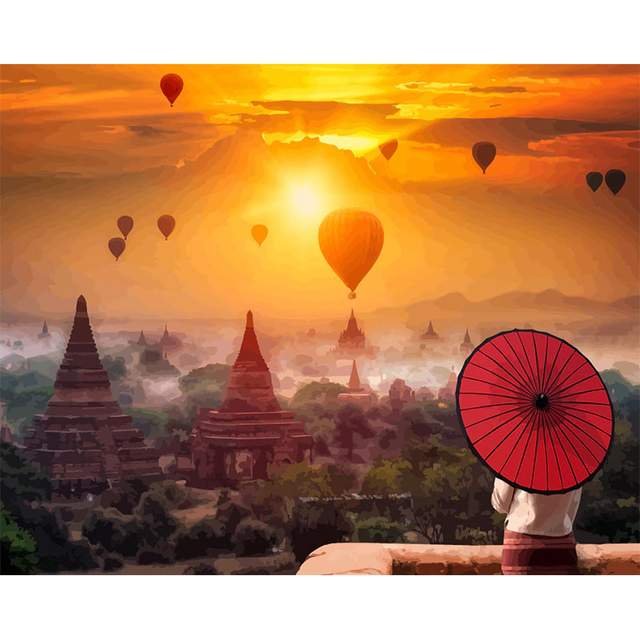 Sunset in Bagan - Painting by Numbers Kit for Adults