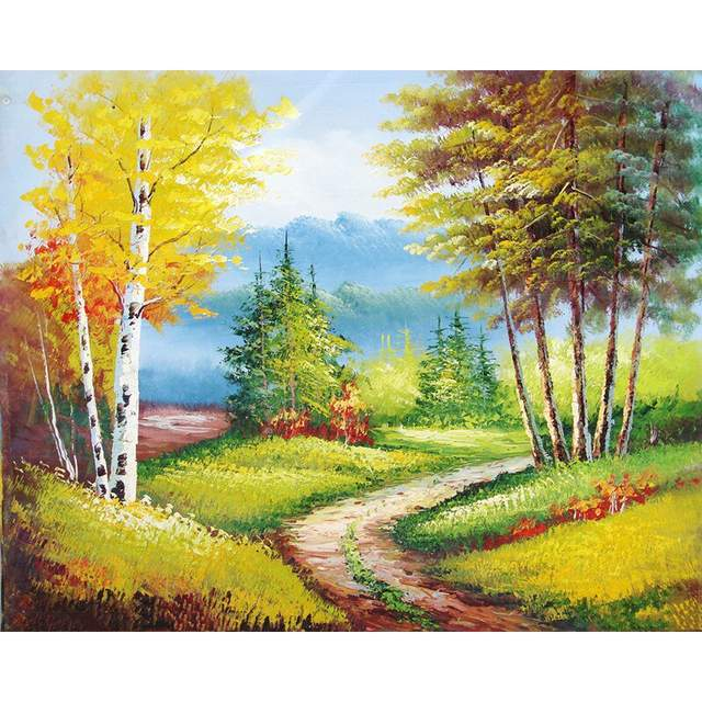 The Road Through the Autumn Forest - Coloring by Numbers