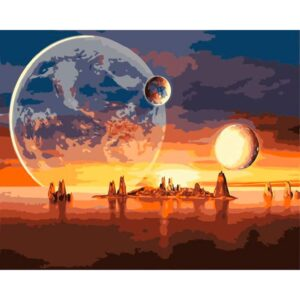 Three Planets on the Galactic Coast - Paint by Numbers for Kids