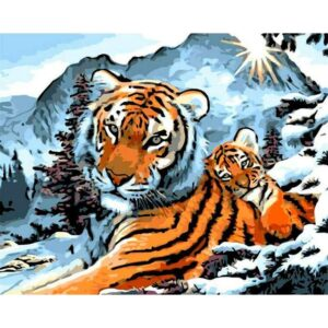 Tigers in Snow Forest on Mountain DIY Paint on Canvas Kits for Adults