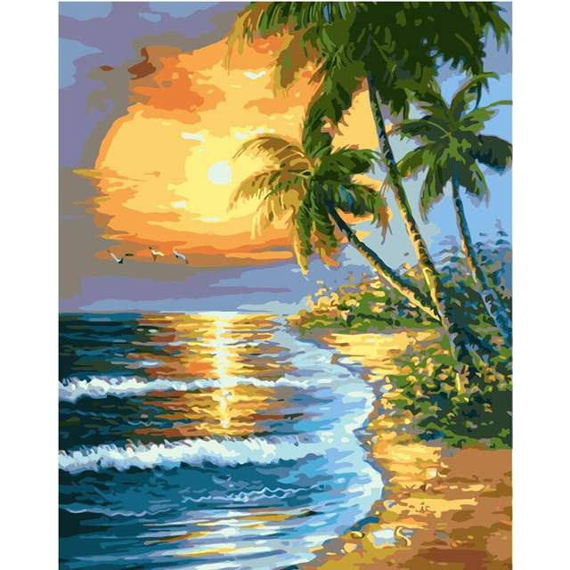Tropical Beach Sunset - DIY Painting by Numbers Kits