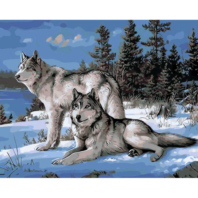Two Wolves DIY Oil Paint By Number Kit