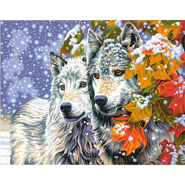 Two Wolves in a Snow - Painting by Numbers