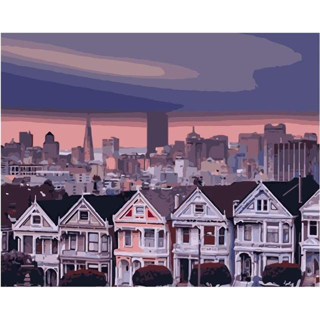 Victorian Painted Ladies Houses at Sunset in San Francisco - Paint by Numbers