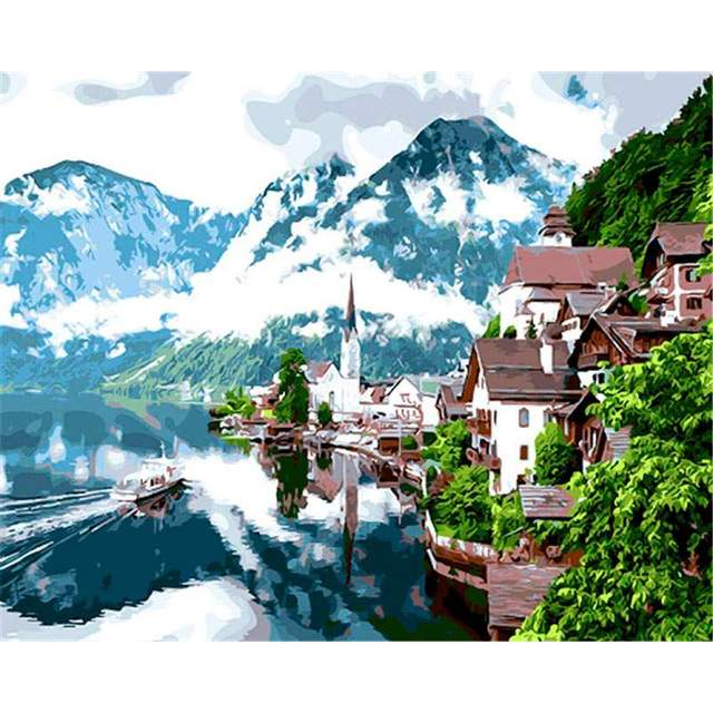 View of Hallstatt Austria DIY Oil Painting By Numbers Kit for Adults