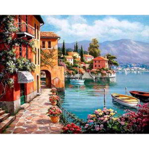 Villas on the Tuscan Coast Italy - Paint by Numbers Kit
