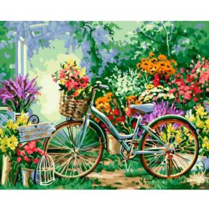 Vintage Bicycle with Flowers in Basket DIY Drawing by Numbers Kit for Adults