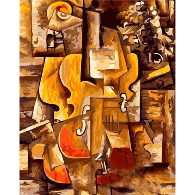 Violin And Grapes Pablo Picasso DIY Oil Painting By Numbers Kit for Adults