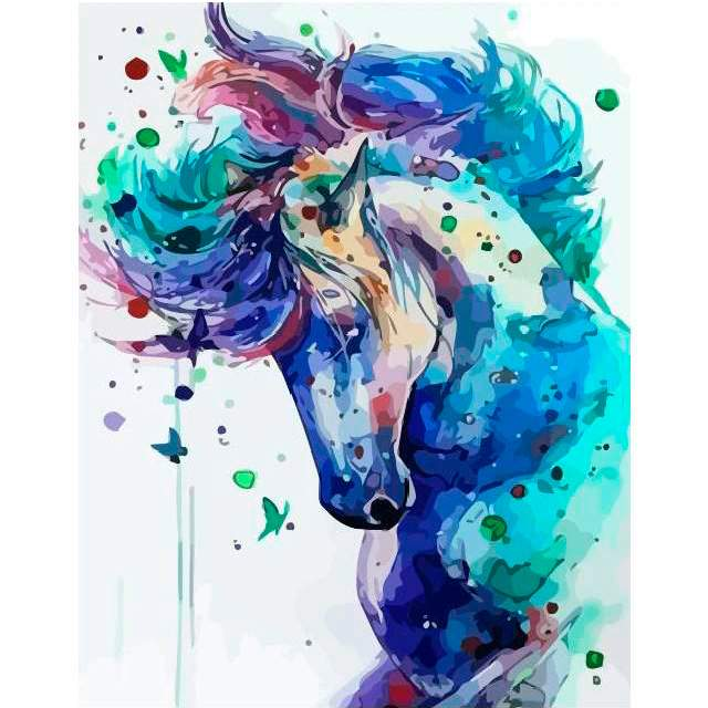 Watercolor Blue Horse - DIY Color by Numbers Kit