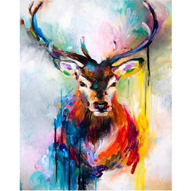 Watercolor Deer - DIY Canvas by Numbers Set
