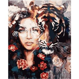 Woman and Tiger - Paint by Number Woman