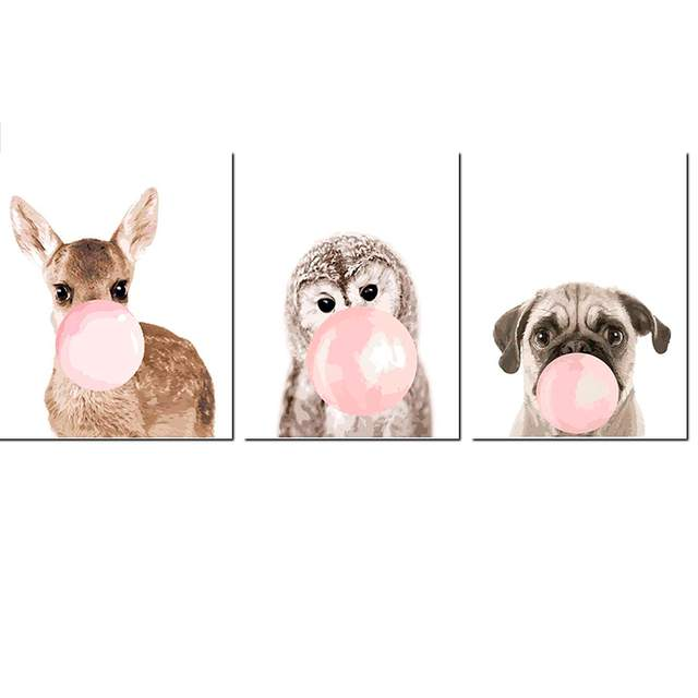 3 Set Different Funny Animals with Bubble Gum - Paint by Numbers
