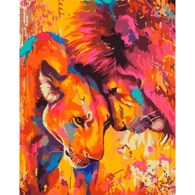 A Couple of Lions in Love - Paint by Numbers
