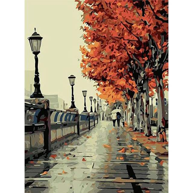 A Walk Through Autumn Paris - Oil Painting by Numbers