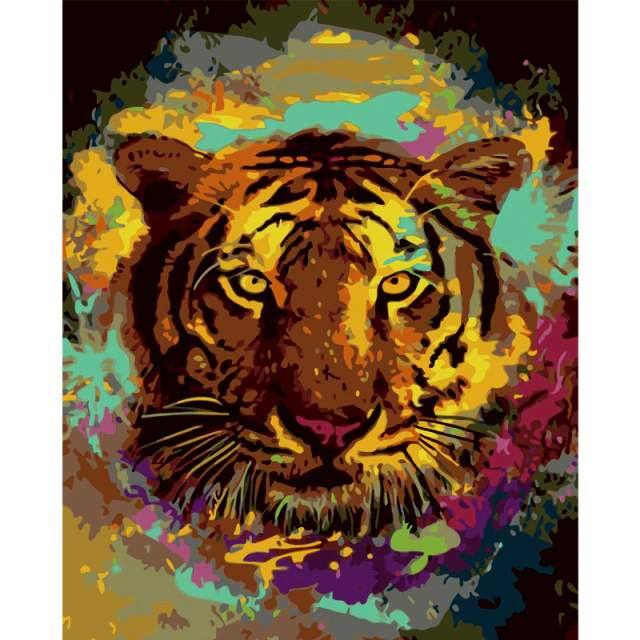 Abstract Colorful Tiger Drawing by Numbers Kit