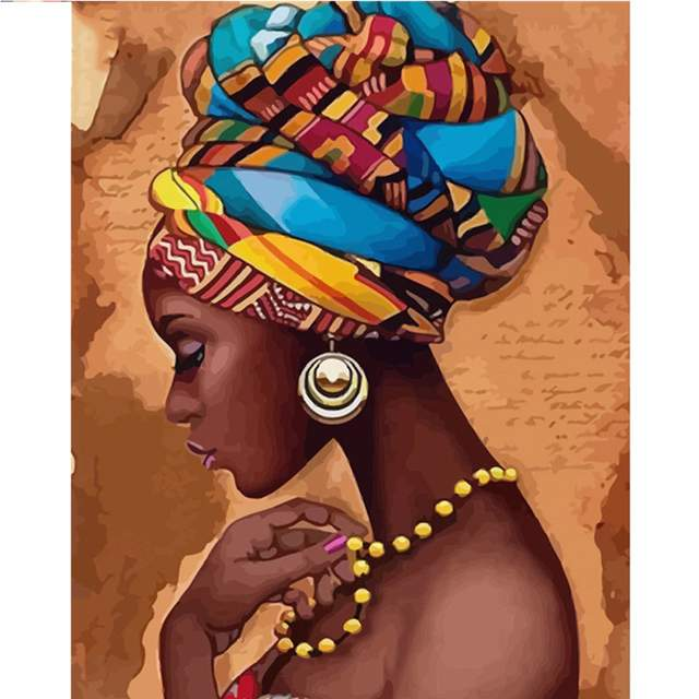 African American Lady in Ethnic Turban Painting by Numbers Kit