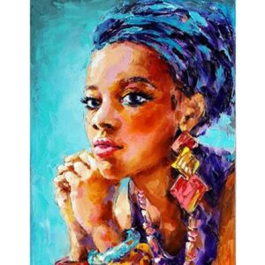 African American Woman in Blue Turban - Oil Paint by Numbers