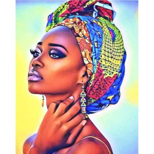 African American Woman in Bright Turban - DIY Paint by Numbers