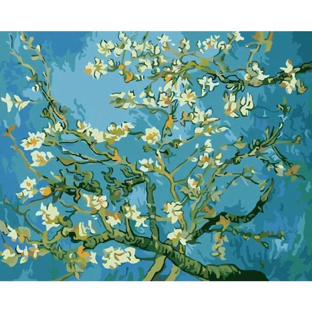 Almond Blossoms by Vincent van Gogh 1890 - Acrylic Paint by Numbers