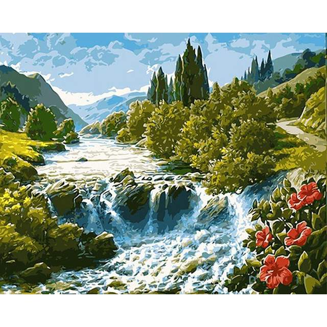 Amazing Mountain Valley - Acrylic Painting by Numbers