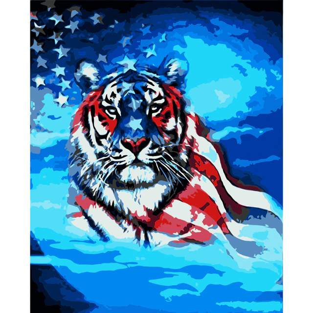 American Flag Tiger Paint by Numbers for Sale