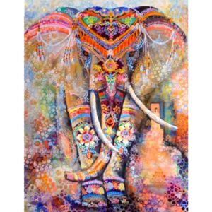 Asian Elephant at the Flower Holiday - Paint by Numbers for Adults