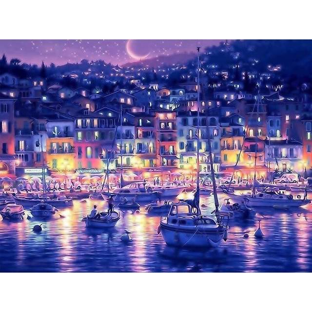 Asos Bay at Night in Greece - Cityscape Paint by Numbers Kits
