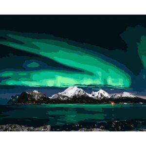 Aurora Borealis - Landscape Coloring by Numbers for Adults