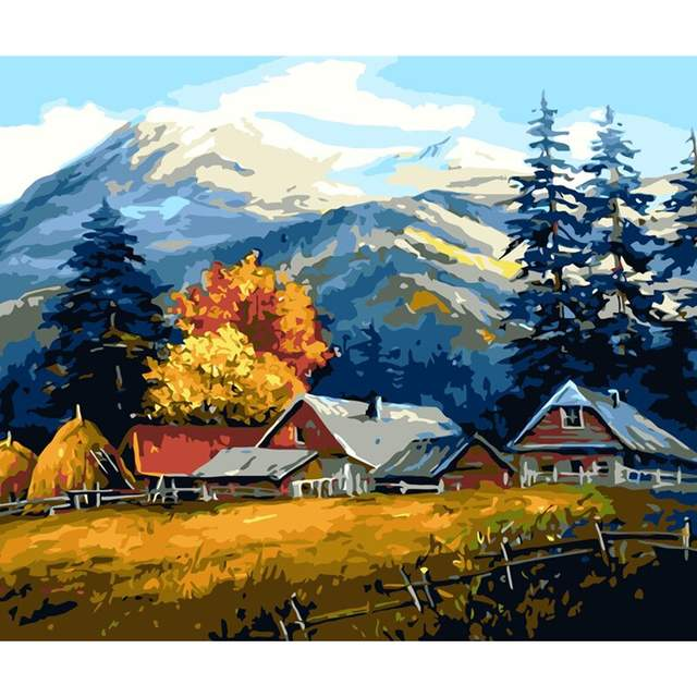 Autumn on a Farm in Mountains - DIY Painting on Canvas