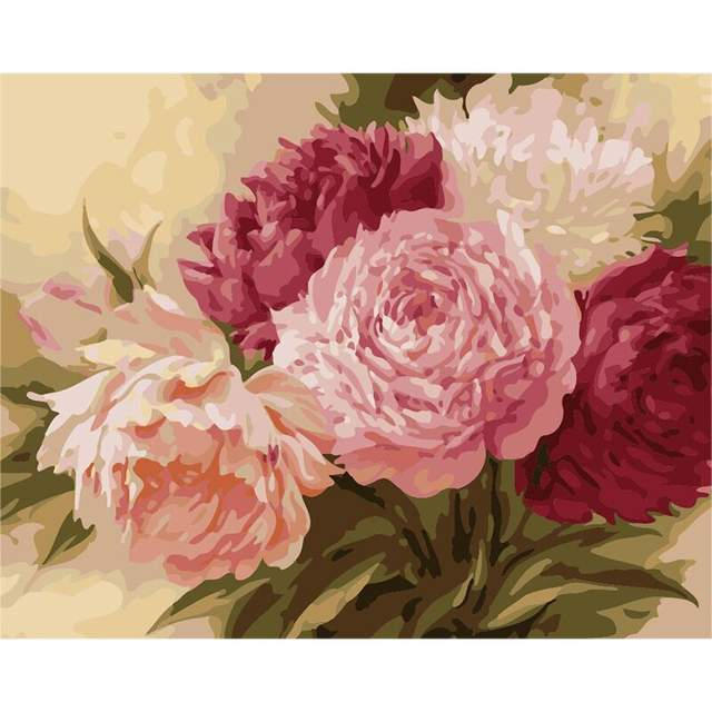 Beautiful Peonies - Acrylic Painting by Numbers Kit