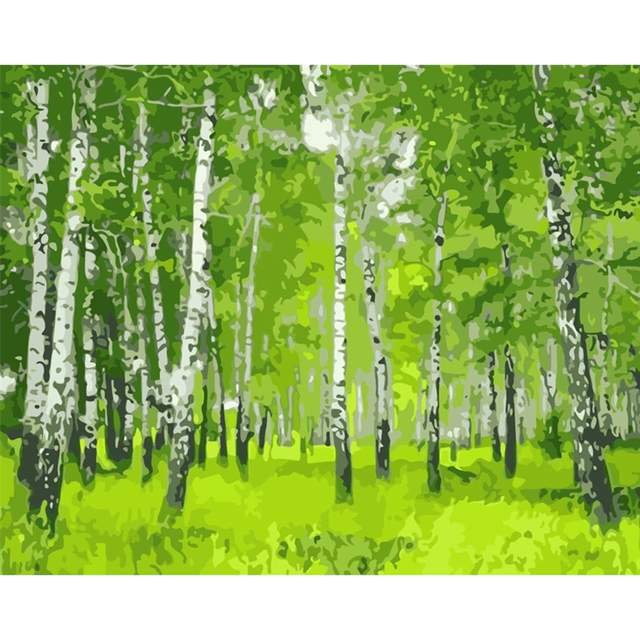 Birch Forest - Acrylic Paint by Numbers Kit