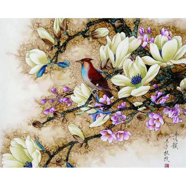 Bird on a Magnolia Branch Acrylic Paint by Numbers