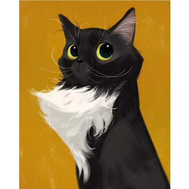 Black and White Cat - DIY Color by Numbers
