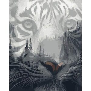 Black and White Tiger Silhouette - Acrylic Paint by Numbers Kit