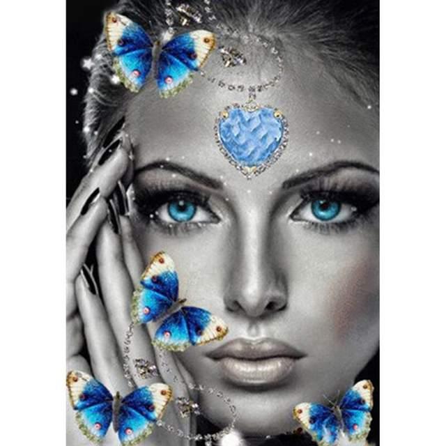 Blue Ocean Heart Lady - Paint by Numbers Portrait