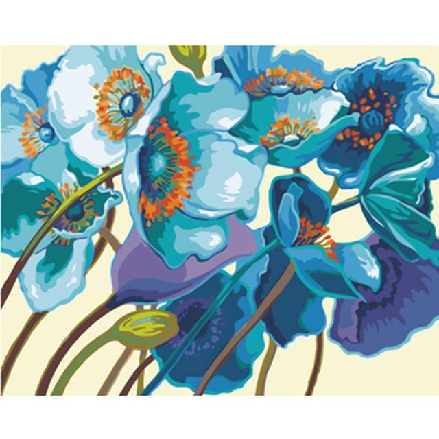 Blue Poppies - Acrylic Drawing by Numbers
