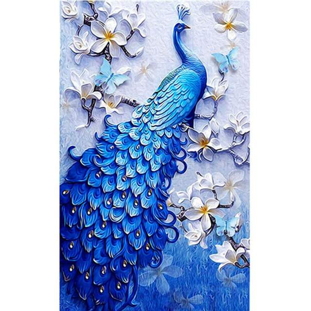 Blue Royal Peacock - Bird Painting by Numbers