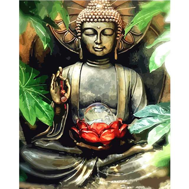 Buddha with a Red Lotus - Acrylic Paint by Numbers