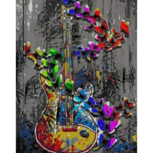 Butterfly Blues Music - Abstract Painting by Numbers Kit