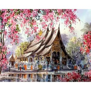 Cherry Blossom Temple Painting by Numbers for Sale