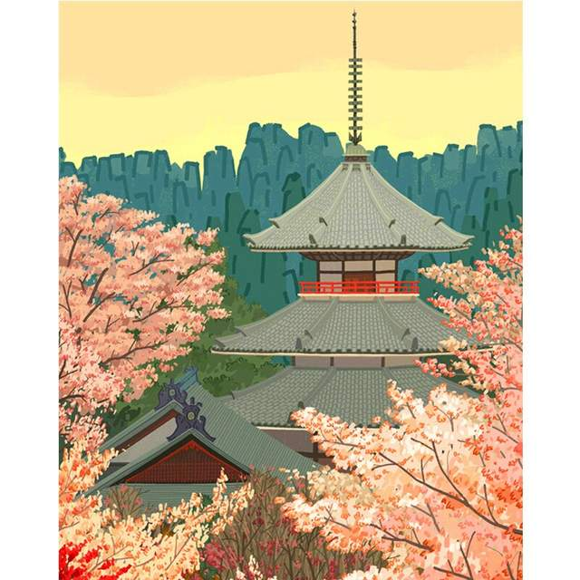 Cherry Blossoms and Pagoda - Cities Paint by Numbers Kit