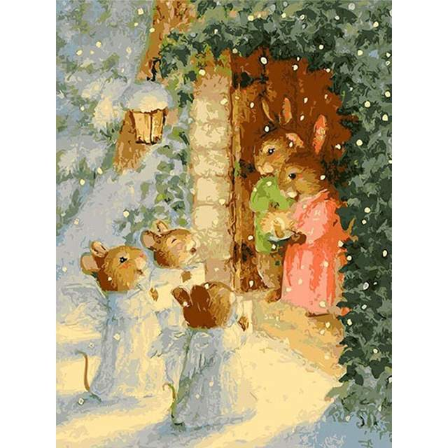 Christmas Angels Bunnies - Oil Paint by Numbers Kit