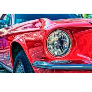 Chrome Red Color Mustang Coloring by Numbers for Adults