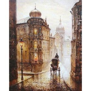Cobblestone Street in Old England - Cityscape Paint by Numbers Kit