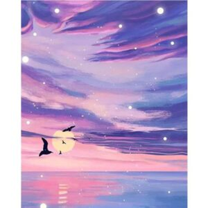 Colored Clouds and Seagulls - Sea Paint by Numbers