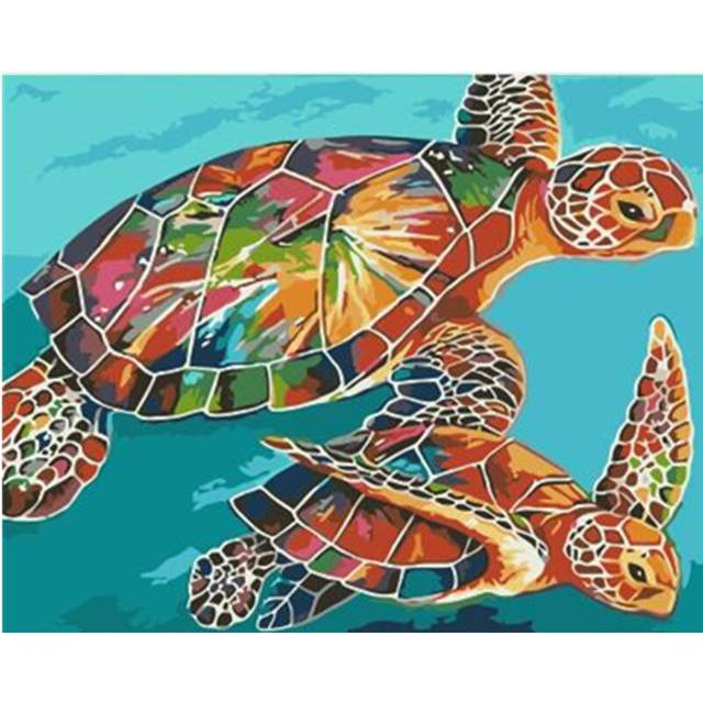 Colored Turtles - Paint by Numbers for Sale