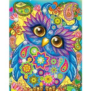 Colorful Floral Owl - Paint by Numbers for Kids