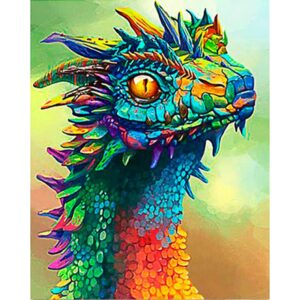 Colorful Little Dragon Head - Acrylic Paint by Numbers Kit
