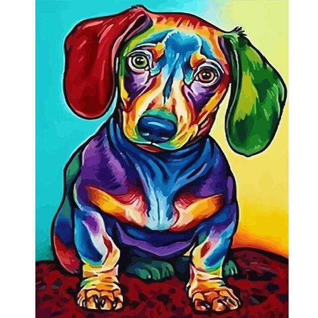 Colorful Mini Dachshund - Easy Painting by Numbers for Beginners