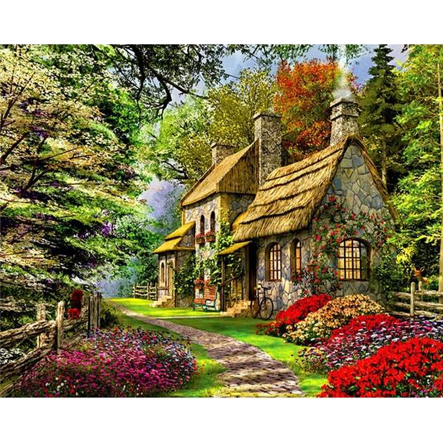 Cottage in the Forest - Coloring by Numbers for Adults